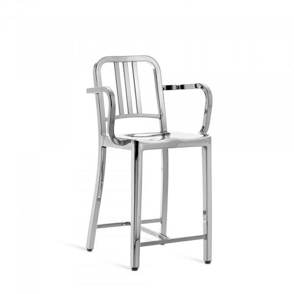 Emeco Navy® Counter Stool With Arms Emeco Polished