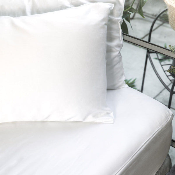 Ettitude Bamboo Lyocell Fitted Sheet - Feather White Bedding and Bath Ettitude