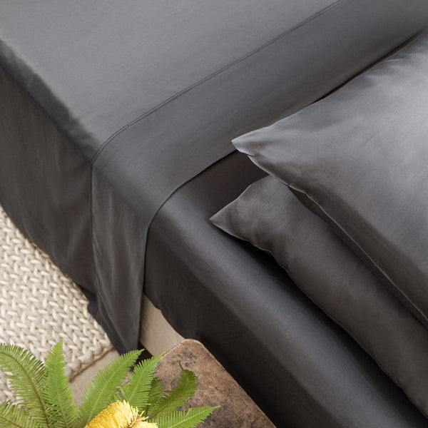 Ettitude Bamboo Lyocell Flat Sheet - Gray Bedding and Bath Ettitude
