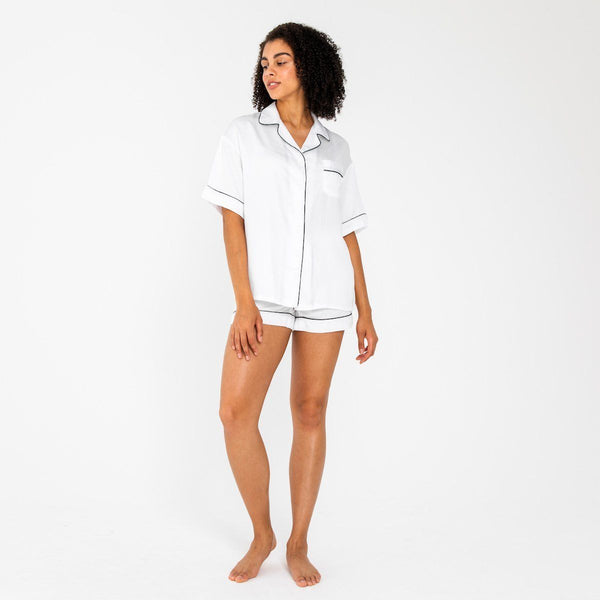 Ettitude Bamboo Lyocell PJ Shorts - Feather White Clothing Ettitude