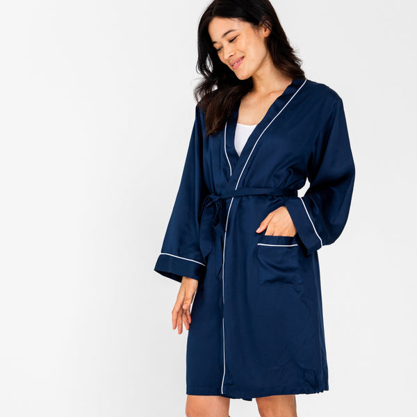 Ettitude Bamboo Lyocell Robe - Blue Nights Sleepwear Ettitude Blue Nights S