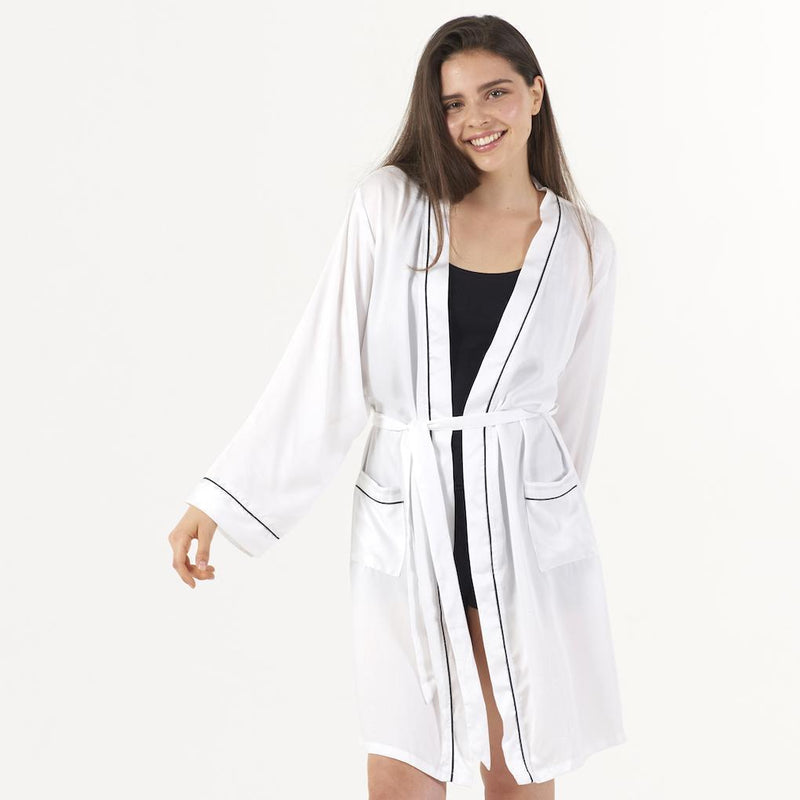 Ettitude Bamboo Lyocell Robe - Feather White Sleepwear Ettitude