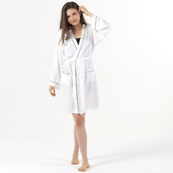 Ettitude Bamboo Lyocell Robe - Feather White Sleepwear Ettitude Feather White S