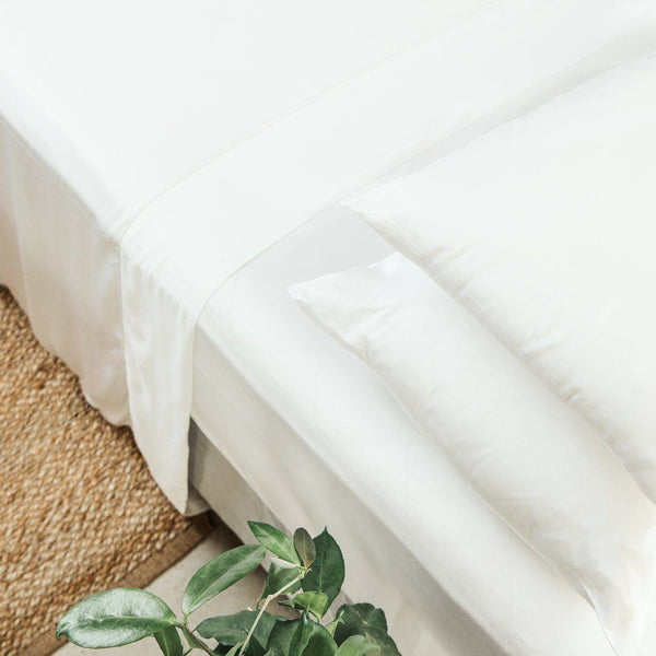 Ettitude Bamboo Lyocell Sheet Set - Feather White Bedding and Bath Ettitude Twin
