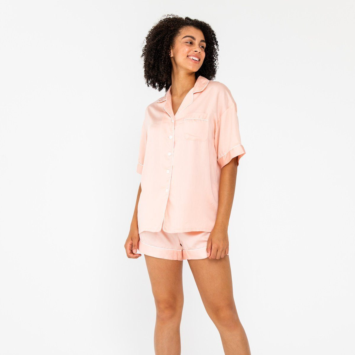 Ettitude Bamboo Lyocell Short Sleeve PJ Shirt - Cloud Pink Clothing Ettitude