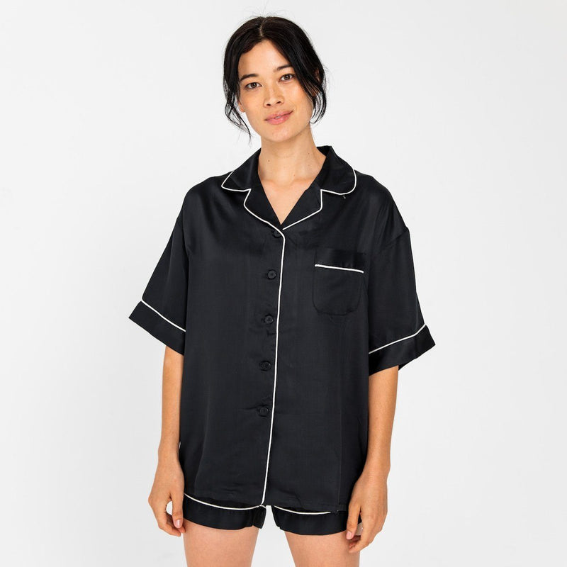 Ettitude Bamboo Lyocell Short Sleeve PJ Shirt - Pepper Clothing Ettitude