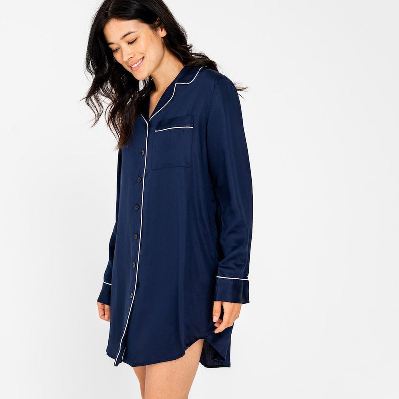 Ettitude Bamboo Lyocell Sleep Shirt - Blue Nights Clothing Ettitude