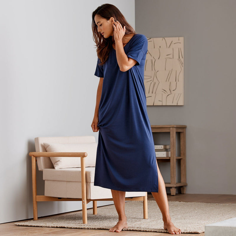 Eucalyptus Short Sleeve Dress - Navy Eucalyptus Loungewear Sijo
