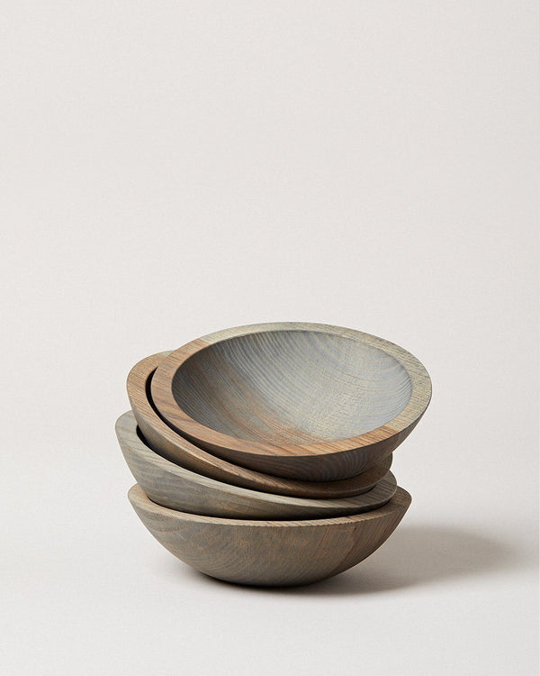 Farmhouse Pottery Set of 4 Crafted Wooden Bowls - Grey Farmhouse Pottery