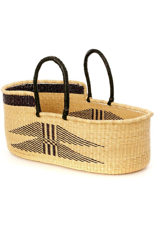 Ghanaian Angel Wings Moses Basket with Leather Handles Swahili African Modern