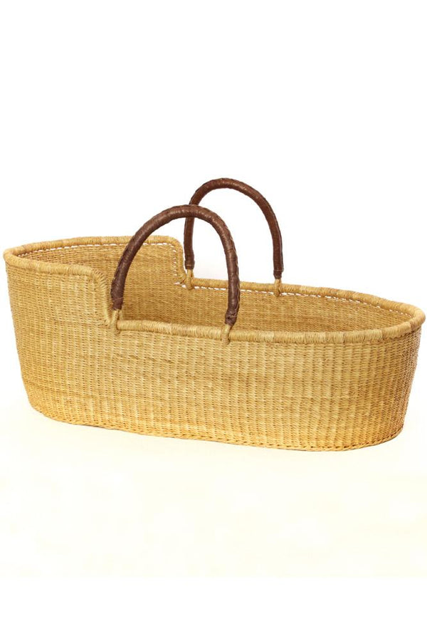 Ghanaian Natural Moses Basket with Leather Handles Swahili African Modern