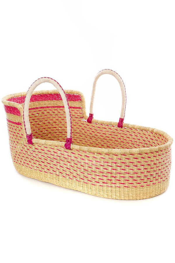 Ghanaian Primrose Moses Basket with Leather Handles Swahili African Modern