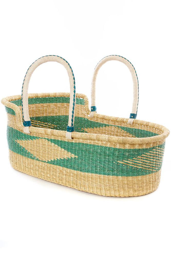 Ghanaian Seafoam Moses Basket with Leather Handles Swahili African Modern