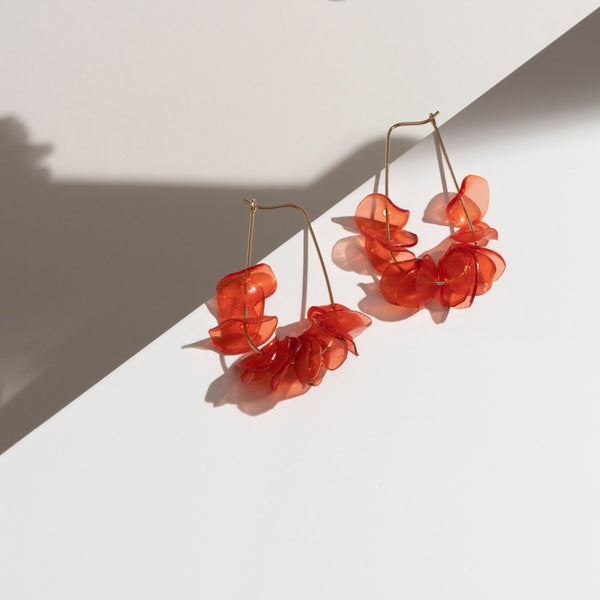 Giulia Letzi + META Jewelry Sustainable 14k Gold-Filled Coral Teardrop Earrings Handmade with 100% Recycled Materials. Sustainable Summer Earrings Hoop Earrings Giulia Letzi + META Jewelry
