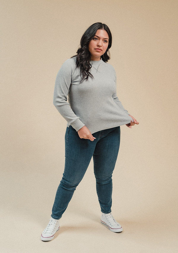 Gloria Waffle Thermal Top - Heather Gray Poplinen