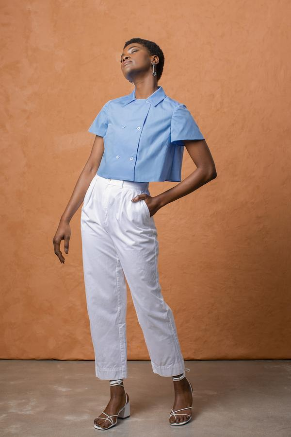 Grammar NYC The Exclamation Crop - Sky Blue Women's Clothing Grammar NYC