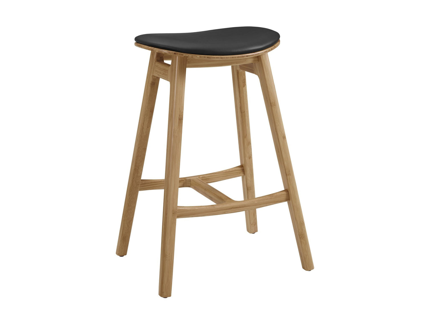 Greenington Skol Bar Height Stool with Leather Seat - Carmelized (Set of 2) Furniture Greenington
