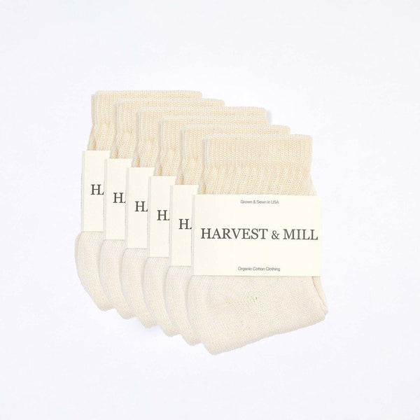 Harvest & Mill Men's 6 Pack Organic Cotton Socks Natural-White Ankle Harvest & Mill