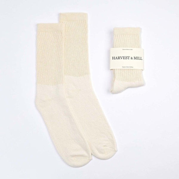 Harvest & Mill Men's 6 Pack Organic Cotton Socks Natural-White Crew Harvest & Mill