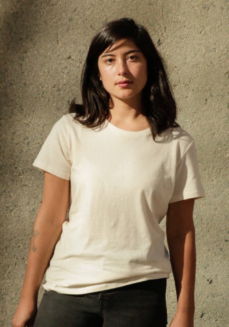 Harvest & Mill Women's Organic Crew Tee in Natural Harvest & Mill