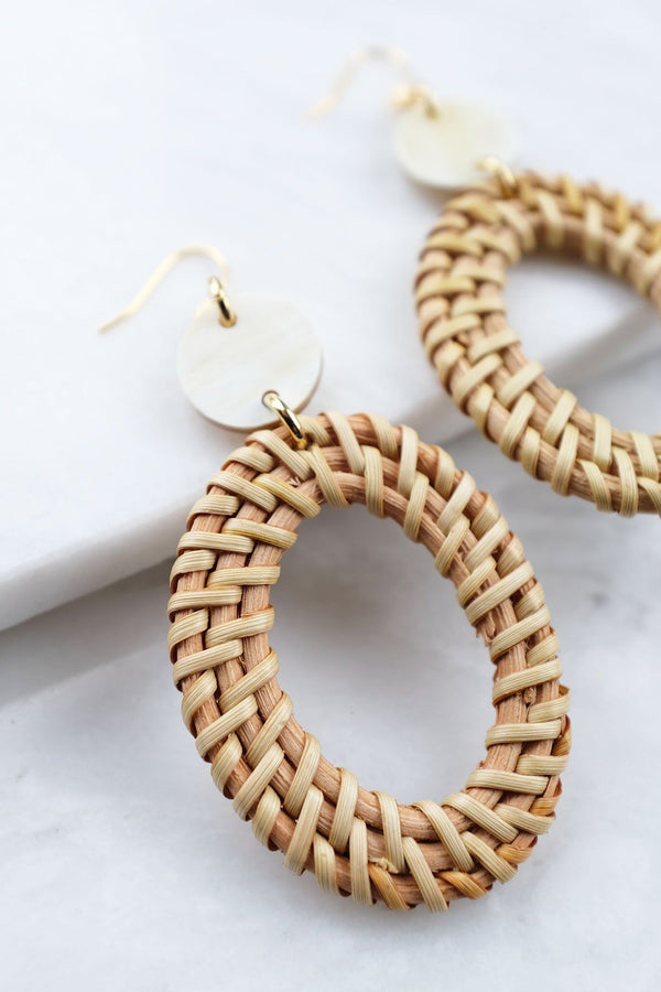 Hathorway Bien Buffalo Horn & Rattan Oval Statement Earrings Earrings Hathorway