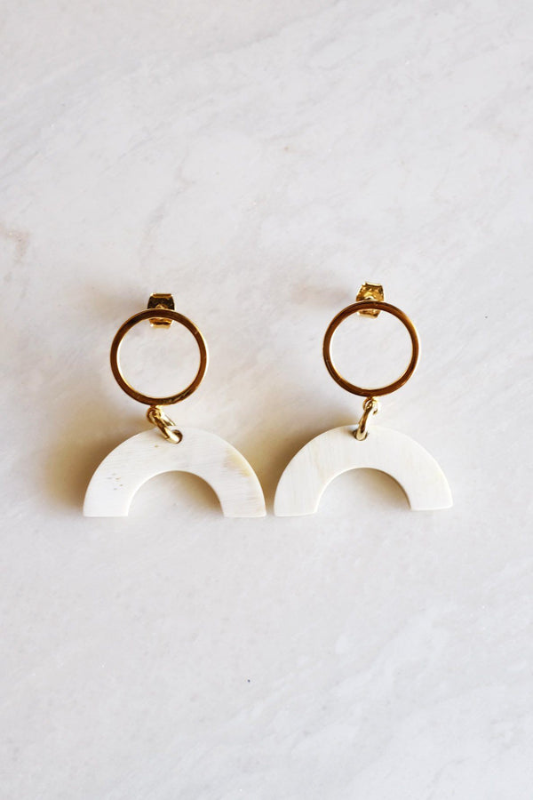 Hathorway Hanh Tinh Geo Icon Buffalo Horn Post Earrings Earrings Hathorway Cream