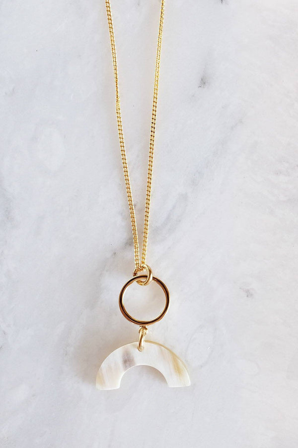 Hathorway Hanh Tinh Geo Icon Horn Pendant Necklace Necklaces Hathorway Cream