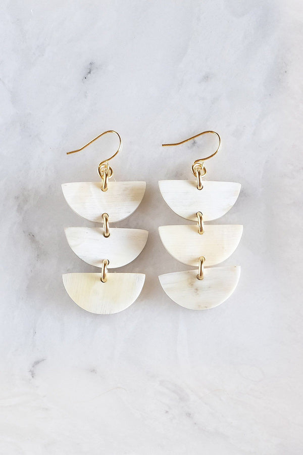 Hathorway Hanoi Triple Crescent Stacked Buffalo Horn Earrings Earrings Hathorway Cream