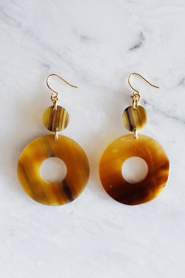 Hathorway Hoan Toan Buffalo Horn Donut Dangle Earrings Earrings Hathorway Honey