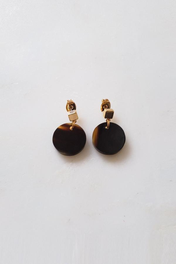 Hathorway Nho Be Circle Buffalo Horn Stud Dangle Earrings Accessories Hathorway Dark Horn