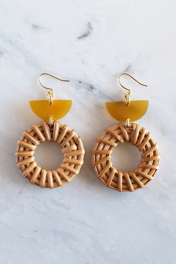 Hathorway Ninh Binh Horn & Rattan Crescent & Donut Earrings Earrings Hathorway Honey