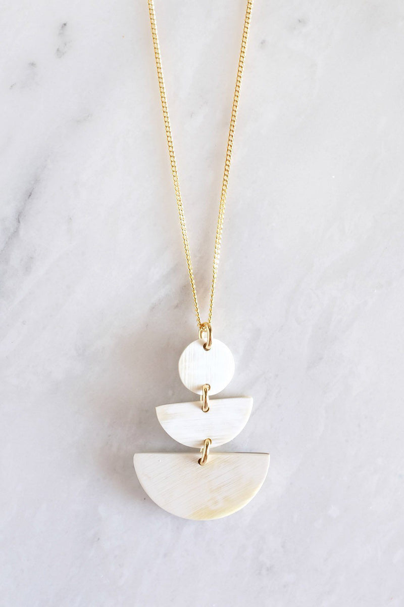 Hathorway Saigon Geometric Buffalo Horn Pendant Necklace Necklaces Hathorway Cream