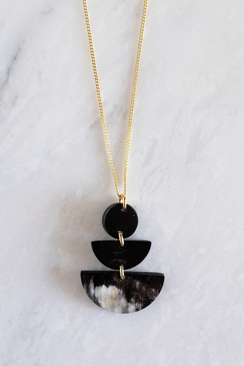 Hathorway Saigon Geometric Buffalo Horn Pendant Necklace Necklaces Hathorway Dark