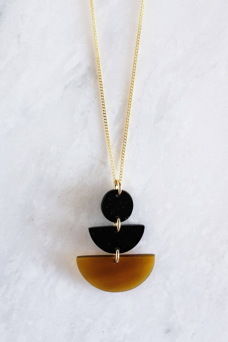 Hathorway Saigon Geometric Buffalo Horn Pendant Necklace Necklaces Hathorway Dark & Honey