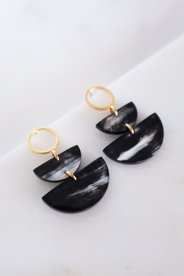 Hathorway Saigon II Geo Buffalo Horn Post Dangle Earrings Earrings Hathorway