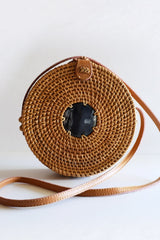 Hathorway Tan Tien Buffalo Horn Centerpiece Circle Wicker Rattan Bag Bags Hathorway-11966084939839