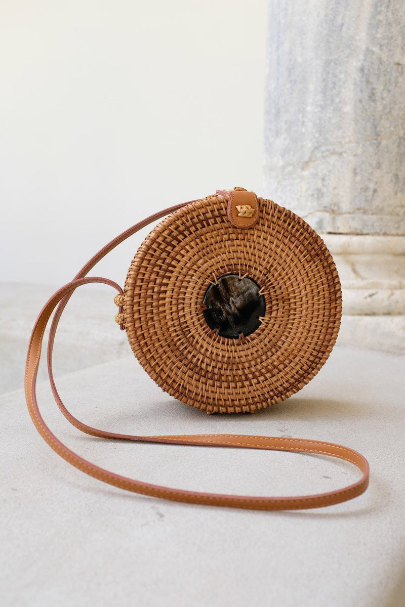 Hathorway Tan Tien Buffalo Horn Centerpiece Circle Wicker Rattan Bag Bags Hathorway