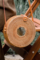 Hathorway Tan Tien Buffalo Horn Centerpiece Circle Wicker Rattan Bag Bags Hathorway-11966057316415