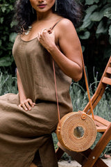 Hathorway Tan Tien Buffalo Horn Centerpiece Circle Wicker Rattan Bag Bags Hathorway-11966046961727
