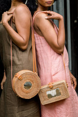 Hathorway Tan Tien Buffalo Horn Centerpiece Circle Wicker Rattan Bag Bags Hathorway-11966125932607