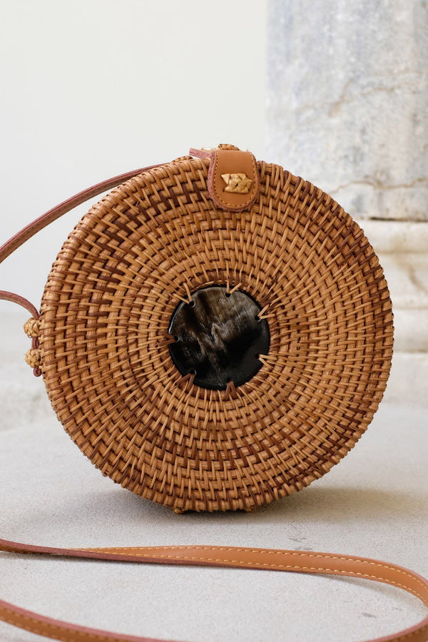 Hathorway Tan Tien Buffalo Horn Centerpiece Circle Wicker Rattan Bag Bags Hathorway Dark Horn