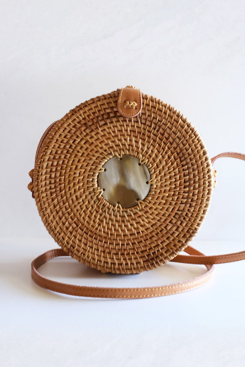 Hathorway Tan Tien Buffalo Horn Centerpiece Circle Wicker Rattan Bag Bags Hathorway Light Horn