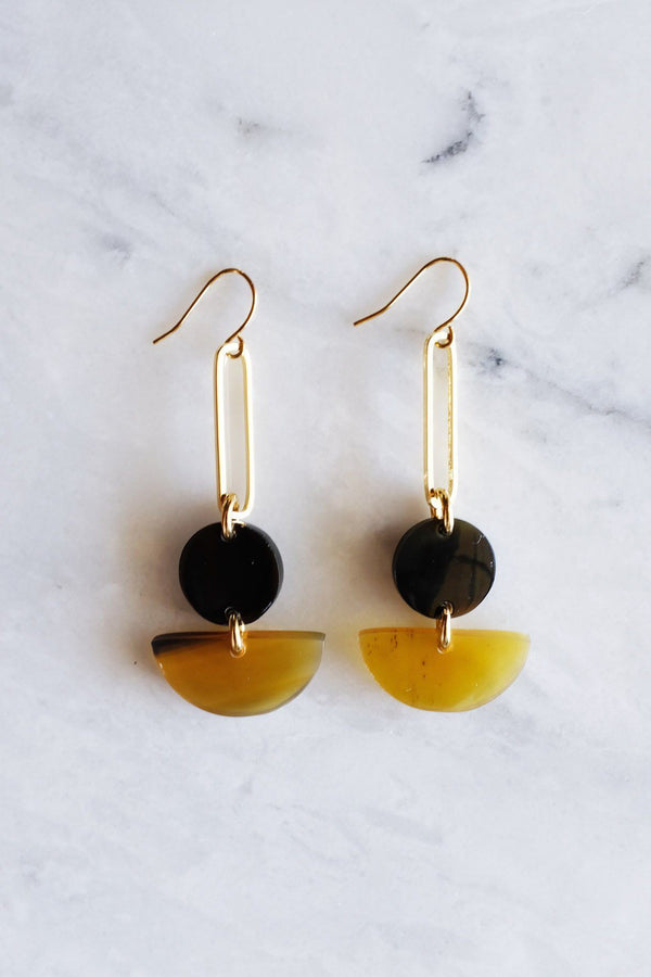 Hathorway Tho Bar & Geo Buffalo Horn Earrings Earrings Hathorway Dark & Honey