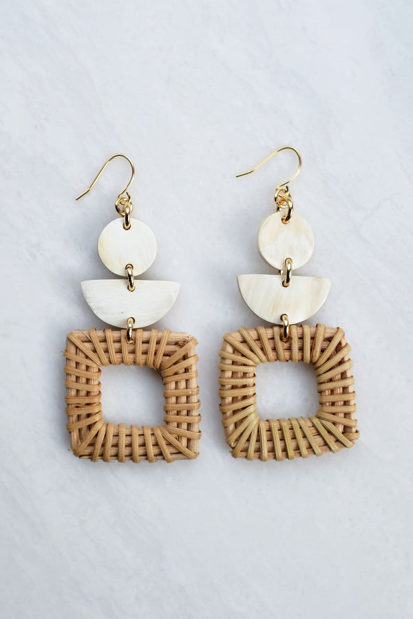 Hathorway Tu 16K Gold-Plated Brass Buffalo Horn & Rattan/Wicker Square Geo Statement Earrings Earrings Hathorway