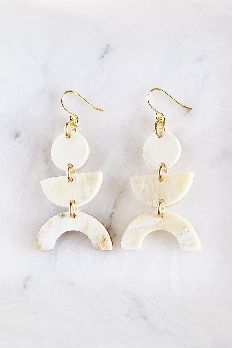 Hathorway Vui Mung Geometric Buffalo Horn Statement Earrings Earrings Hathorway Cream