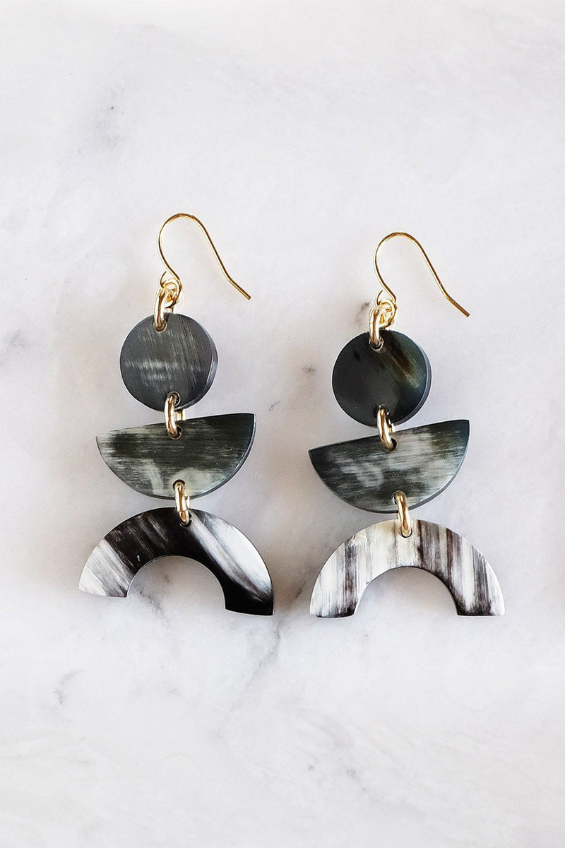 Hathorway Vui Mung Geometric Buffalo Horn Statement Earrings Earrings Hathorway Dark