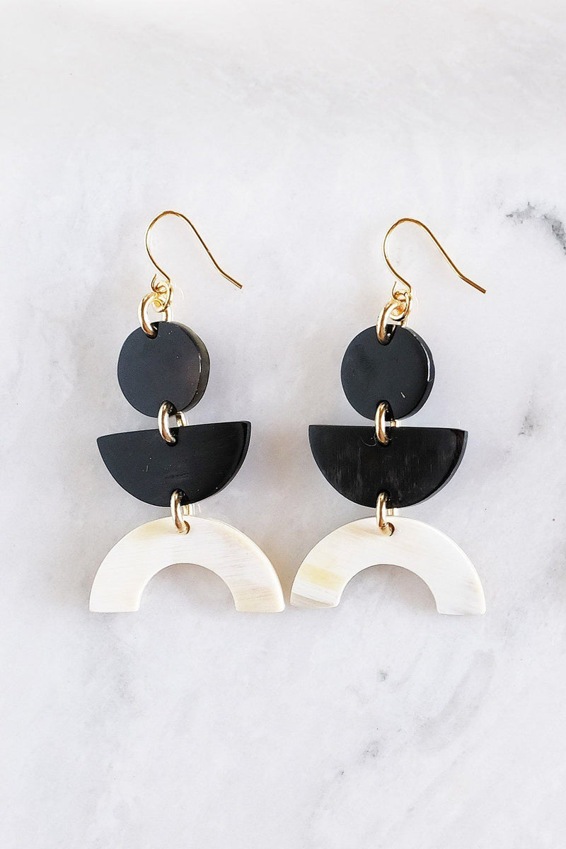 Hathorway Vui Mung Geometric Buffalo Horn Statement Earrings Earrings Hathorway Dark & Cream
