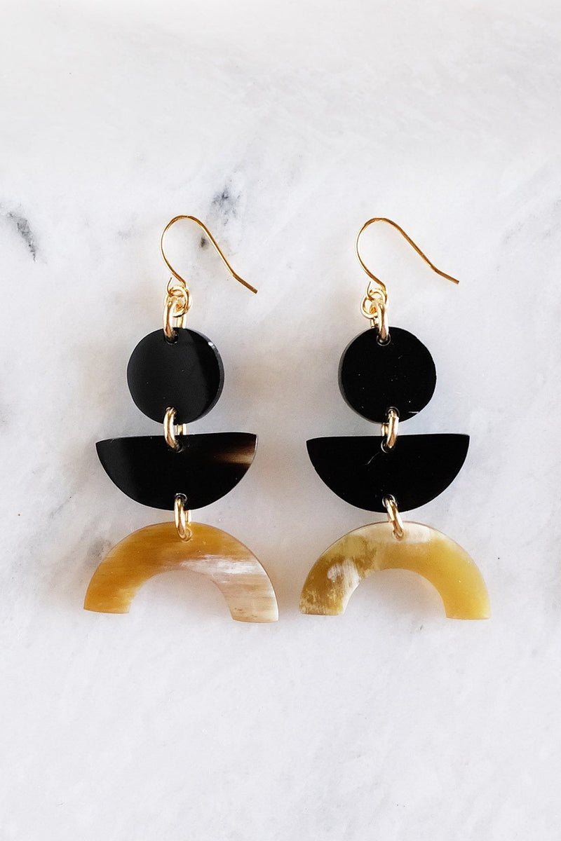 Hathorway Vui Mung Geometric Buffalo Horn Statement Earrings Earrings Hathorway Dark & Honey