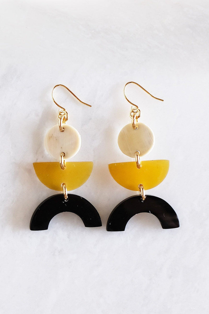 Hathorway Vui Mung Geometric Buffalo Horn Statement Earrings Earrings Hathorway Mixed Color