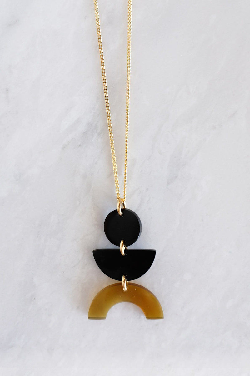 Hathorway Vui Mung Geometrical Buffalo Horn Pendant Necklace Necklaces Hathorway